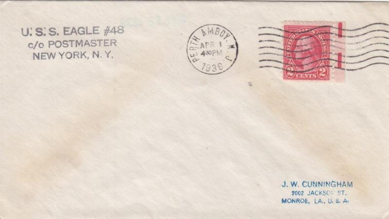 Dk enterprises stamps coins and covers hipstamp 1936 uss eagle 48 perth amboy nj n1516 reheart Image collections