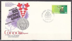 Canada, Scott cat. 694. Olympics, Wheelchair Archer. First day cover. ^