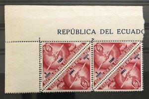 Ecuador 1939 Air Mail SERVICE Triangle Triangular odd shape Double Perf Error