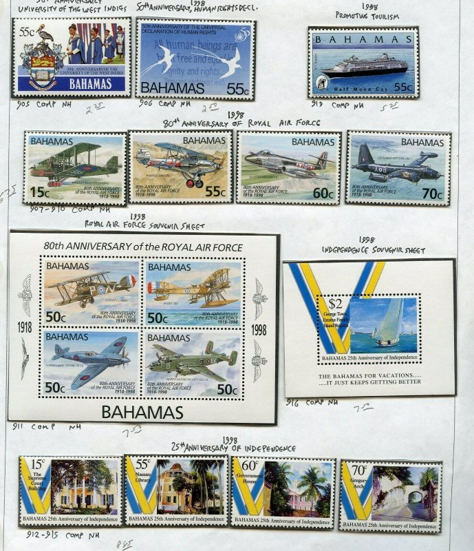 BAHAMAS LOT OF STAMPS   MINT NEVER HINGED & USED --SCOTT VALUE $482.00