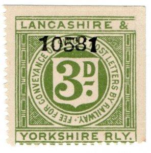 (I.B) Lancashire & Yorkshire Railway : Letter Stamp 3d