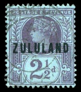 Zululand 1891 QV 2½d purple/blue very fine used. SG 4. Sc 4.