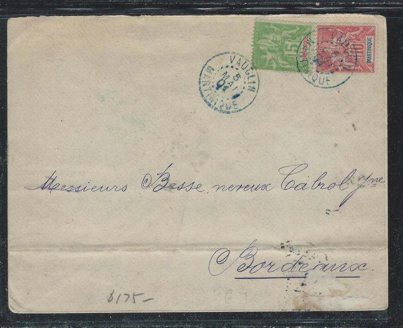 MARTINIQUE FRENCH COLONY (P2612B) 1904 5C+10C SAGE VAUGHLIN TO FRANCE