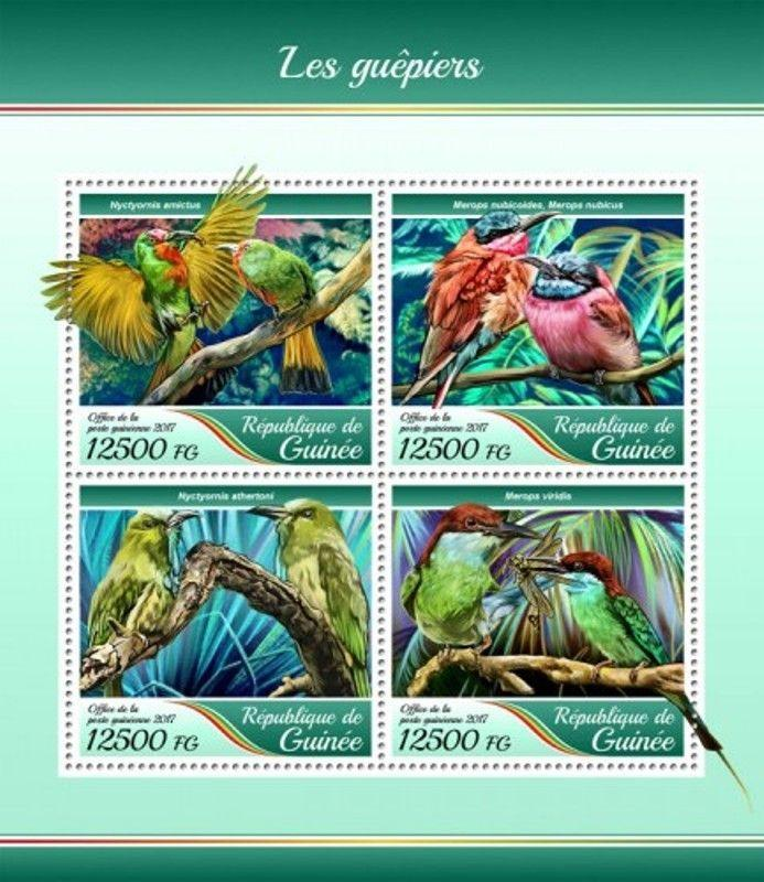 Guinea - 2017 Bee-eater Birds - 4 Stamp Sheet - GU17410a