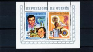 Guinea 1993 Chess/Rotary-Lions ovpt.Silver Perforated Compound S/S MNH