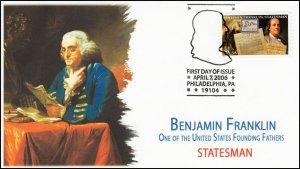 AO-4021-2, 2006,Benjamin Franklin, Add-on Cachet, FDC, Pictorial Postmark,
