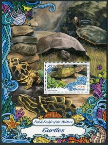 HERRICKSTAMP NEW ISSUES MALDIVES Sc.# 3791 Turtles Souvenir Sheet