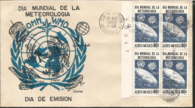 Cosmo Mexico Map.J 1967 Mexico World Meteorology Day Moon Satellite Onu Log Map