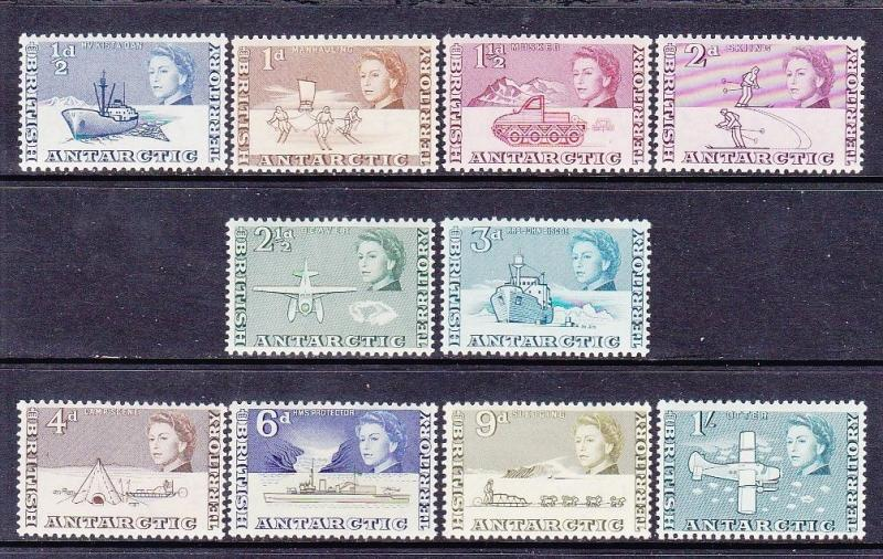 British Antarctic Territory BAT 1-10 Mint LH 1963 ½p-1sh Issues Very Fine
