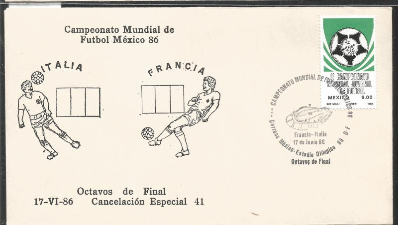 J) 1983 MEXICO, ITALY-FRANCE, BALL, SPECIAL CANCELLATION, II WORLD YOUTH FOOTBAL