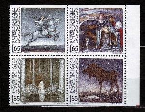 J23062 JLstamps 1982 sweden mnh set blk/4 #1392-5 fairy tale