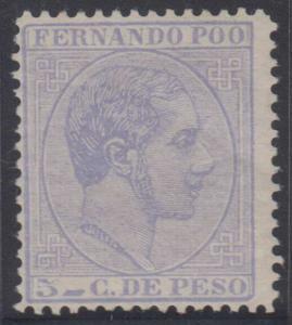 SPAIN FERNANDO POO 1882-89 ALFONSO II Sc 7 KEY VALUE MNH VF SCV$60.00+