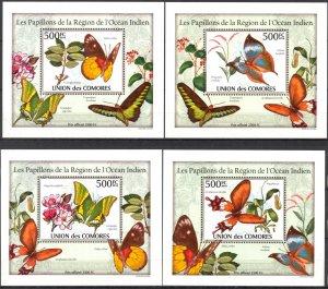 {093} Comoros 2010 Butterflies 4 S/S Deluxe MNH**