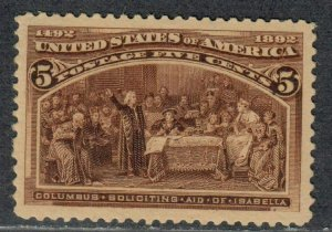 $US Sc#234 M/LH/XF-Sup JUMBO 1 blind perf huge stamp!