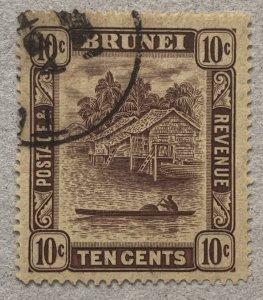 Brunei: 1937 10c used with TUTONG village cds. Scott 54, CV $32.50.   SG 73