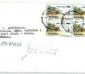 NIGERIA *Onitsha* Cover MIVA Austria *MISSENT TO AUSTRALIA* 1997 {samwells}CS300