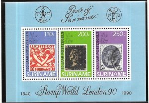 Surinam #860a Stamps World London '90 S/Sheet  (MNH)  CV $8.00