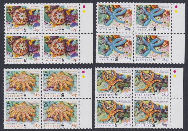 BIOT WWF Sea Stars 4v Blocks of 4 with right margin SG#253-256 MI#266-269