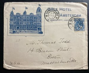 1924 The Hague Netherlands Bible Hotel Advertising  cover To Boston ma USA