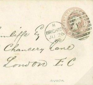 N128a 1866 GB NUMERALS *Brighton Duplex Error* 4VODX(London Style) 1d Pink Cover