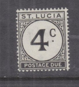St. LUCIA, POSTAGE DUE, 1949 ordinary paper 4d. GHOSTING AROUND 4, mnh.