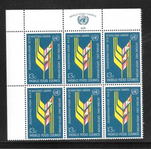 United Nations #280 MNH Margin Inscription Block of 6