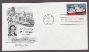 1325 Erie Canal ArtCraft FDC with erased pencil address