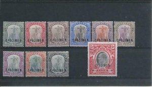 MONTSERRAT 1903 SET OF TEN OVPT SPECIMEN MM SG 14s/23s CAT £225