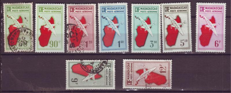 J17697 JLstamps 1935-41 various  madagascar mh/used #c1- airplane airmail