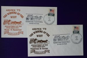 ARIPEX 1973 Philatelic show souvenir cachet cover Tombstone Tucson AZ Stage Mail