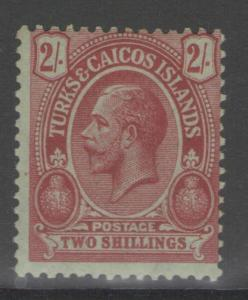 TURKS & CAICOS IS. SG138b 1921 2/= RED ON EMERALD MTD MINT