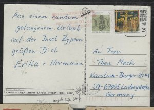 CYPRUS COVER (P1904B)  1C+25 ON PPC TO GERMANY