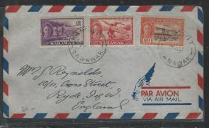 SARAWAK COVER (P0804B) 1952 KGVI 12C+8CX2+20C+2C  A/M KANOWIT TO ENGLAND