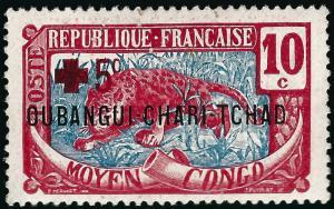 Ubangi Shari Sc B2 F-VF Mint OG thin spots... French Colonies are Hot!