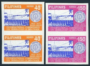 Philippines 1260a-1261a imperf pairs,MNH. Commission on Irrigation.Dam,1975.