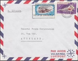 NEW CALEDONIA 1969 cover NOUMEA to New Zealand - Shells...................53868