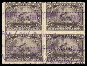 B481 U.S. Revenue Scott R171 50c battleship, used block of 4, Kentucky cancel