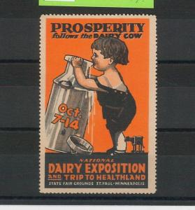 55204 -  VINTAGE  POSTER STAMP Label - USA: Dairy Exposition, Minnesota