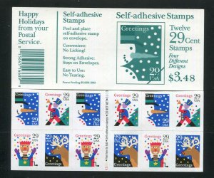 2802A  29¢ Christmas Greetings Booklet 1993 Plate V3333333