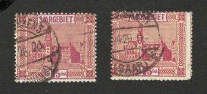 SAARGEBIET - SAAR -GERMANY - 2 USED STAMPS 15 c -1923.
