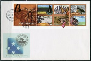 MICRONESIA 2000 BUTTERFLIES OF THE WORLD  SHEET FIRST DAY COVER