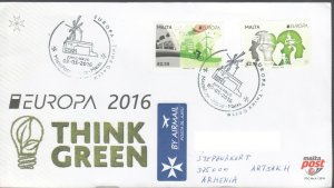 EUROPA CEPT THINK GREEN 2016 MALTA FDC TO NAGORNO KARABAKH ARMENIA R2021917