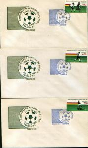 MEXICO 1278-1280, FDC World Soccer FIFA Cup Set of 3. VF.