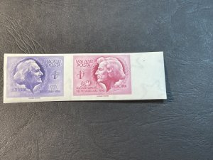 HUNGARY # 1168-1169(1169a)--MINT NEVER/HINGED--PAIR-IMPERFORATE AS ISSUED--1956