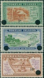 Tokelau 1967 SG9-11 Decimal Overprints Maps MNH