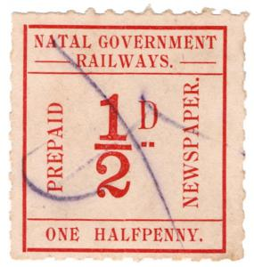 (I.B) Natal Government Railways : Prepaid Newspaper Parcel ½d