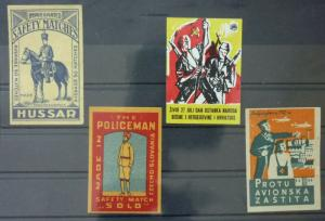 Match Box Labels ! military army police solider czechoslovakia GN1