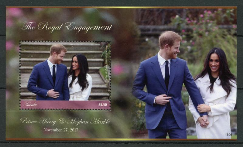 Tuvalu 2018 MNH Prince Harry & Meghan Royal Engagement 1v M/S Royalty Stamps