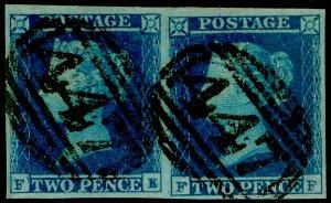 SG15, 2d deep full blue PLATE 4, FINE USED. Cat £280. PAIR. FULL MARGINS. FE FF