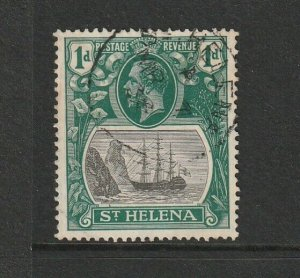 St Helena 1922/37 Ship Series 1dGrey/Green cds Used SG 98